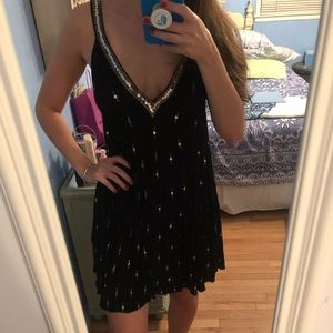 Free people black sequin shift dress